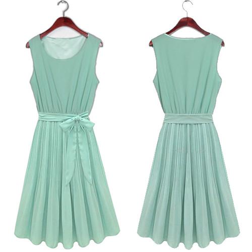 New chic Green Womens Sleeveless Pleated Skirt Vest Chiffon Casual Dress 8-14   Amazing Shoes UK