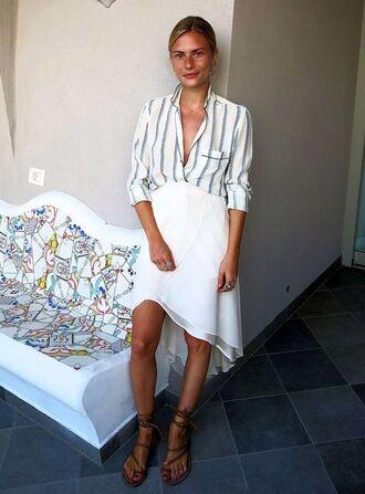 skirt blouse pocket white skirt stripes blonde girl button down shirt flowy gladiators button down white on white