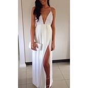 dress,white,vcut,slit,white dress,long dress,maxi dress,low cut dress,slit dress,fashion,sexy dress,prom dress,graduation dress,allwhite style
