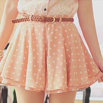 skirt pink skirt polka dots lovely cute skirt summer skirt shirt pink frilly pink lacy pink fully skirts ulzzang pretty belt cream shirt lace shirt korean fashion korean style kfashion orange