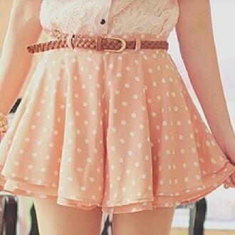 skirt pink skirt polka dots cute skirt summer skirt shirt pink frilly pink lacy pink fully skirts ulzzang pretty belt cream shirt lace shirt korean fashion korean style kfashion
