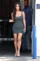 dress,mini dress,bodycon dress,sandals,kardashians,kim kardashian,tank top,summer,summer dress,summer outfits,shoes,kim,kim kardashian dress