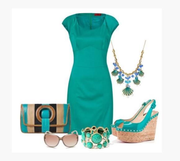 jewels bangle bracelet bag wedges sunglasses dress medium dress pencil dress short sleeves cap sleeves empire waist teal turquoise aqua scoop neck necklace shell necklace purse clutch shoes high heels wedge heels teal wedges peep toe wedges sling back heels cork wedges clothes outfit peep toe sling back wedges