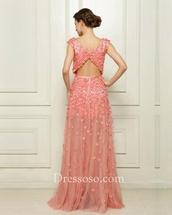 dress,long prom dress,pink dress,floral dress,opened back dress