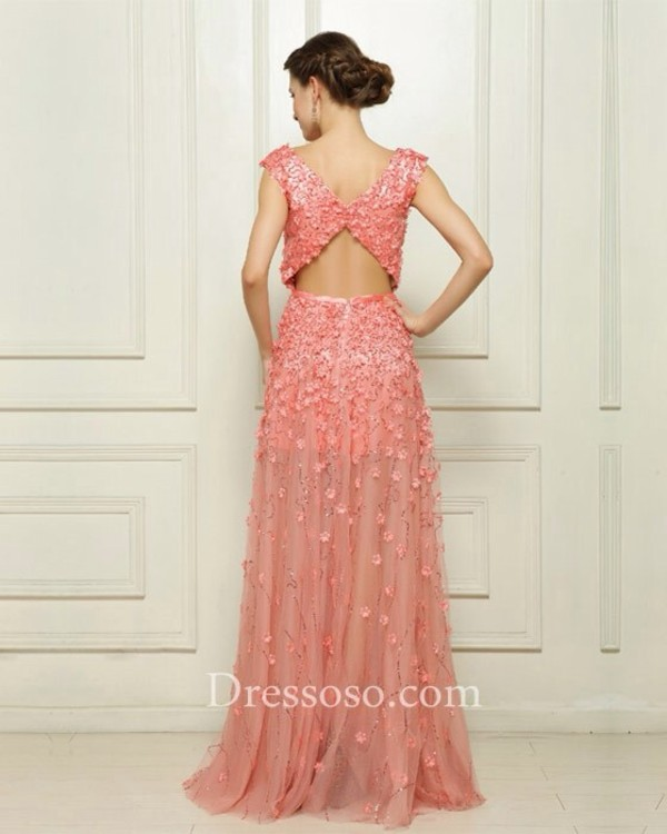 dress long prom dress pink dress floral dress opened back dress