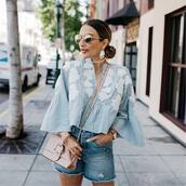 top,sunglasses,tumblr,blue top,stripes,striped top,bell sleeves,bag,pink bag,earrings,shorts,denim,denim shorts