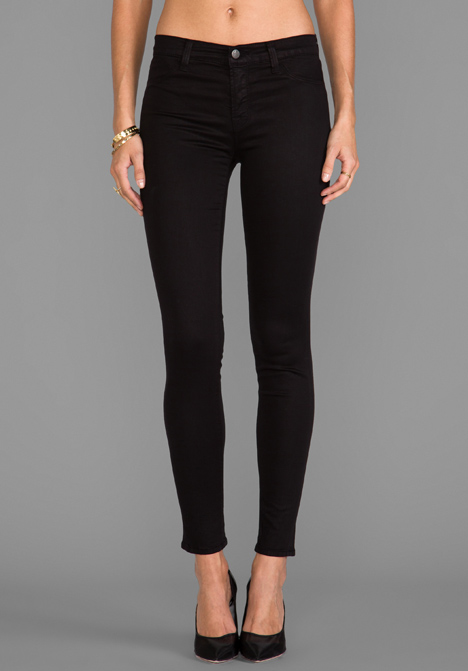 J BRAND Mid Rise Super Skinny in Black at Revolve Clothing - Free Shipping!