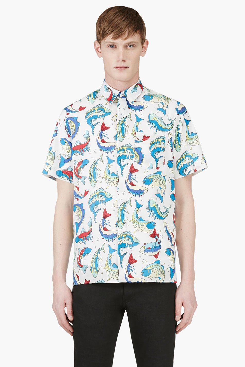 Kenzo white and blue fish print shirt for Fish print shirt