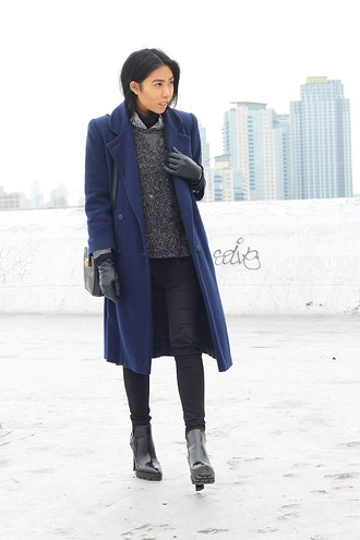 fashion of a novice blogger winter coat blue gloves grey sweater winter outfits sweater coat shoes bag