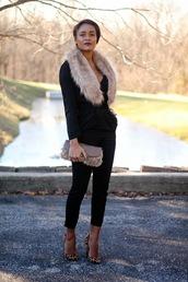the daileigh,pants,bag,shoes,furry pouch,fur scarf,furry bag,blazer,black blazer,black pants,capri pants,pumps,pointed toe pumps,high heel pumps,leopard print