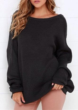 sweater black oversized sweater oversized black sweater knitted sweater knitwear fashion instagram pinterest trendy girl girly girly wishlist