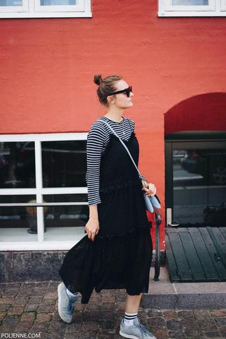 top tumblr stripes striped top black dress dress maxi dress sneakers socks sunglasses slip dress