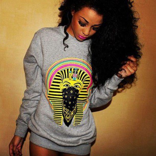 sweater pharaon gang sweat crewneck shirt sweatshirt gray sweatshirt eygpt hat top dope swag grey pharaoh print blouse sweater jumper grey sweater