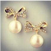 jewels,cute,pearl,earrings,stud earrings,bows