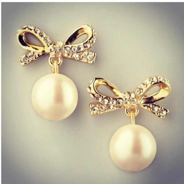 jewels cute pearl earrings stud earrings bows