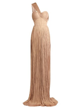 gown pleated silk nude dress