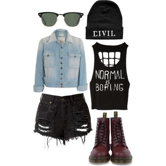 t-shirt boots drmartens hipster grunge shorts hat sunglasses