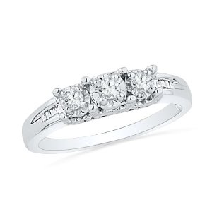 Amazon.com: sterling silver baguette and round diamond three stone ring (1/6 cttw): d