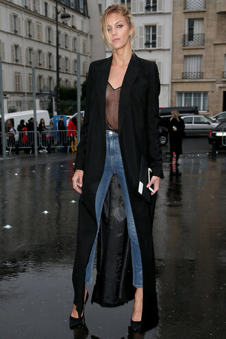 coat top see through jeans spring spring outfits pumps fashion week 2016 streetstyle paris fashion week 2016 anja rubik