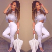 sweater,silver,grey,cropped,crop tops,pants,bag,shoes,blouse,sparkly crop top,jeans,white,white pants,high waisted jeans