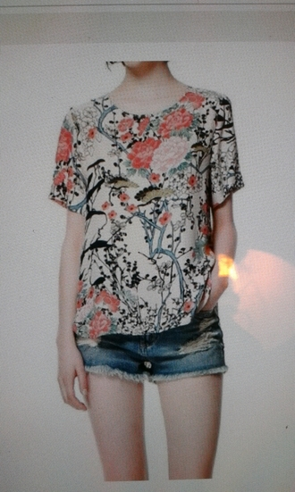t-shirt flowers cute girly pink floral birds japanese tree white green black