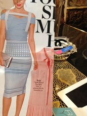 dress,light blue and white   david koma spring 2014 2pc