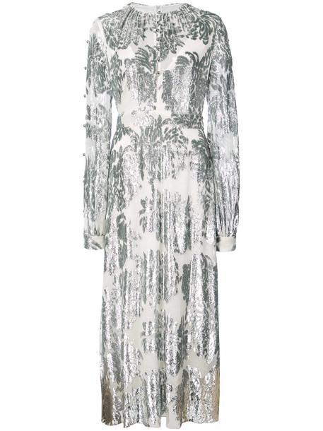 dress long women silk grey metallic