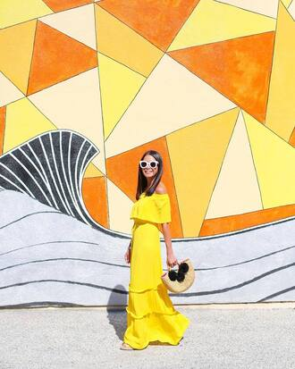 dress tumblr off the shoulder off the shoulder dress yellow yellow dress maxi dress sunglasses bag handbag