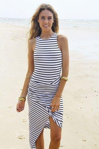 striped dress black and white dress www.ustrendy.com black and white stripes striped maxi dress asymmetrical ruched maxi dress