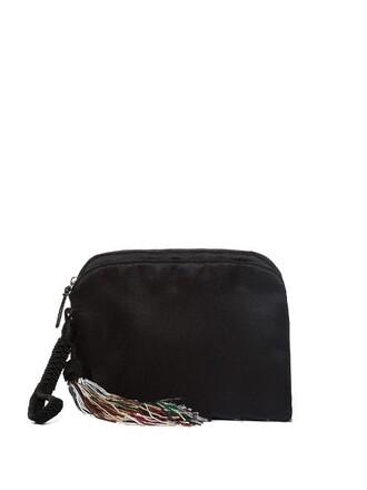 tassel beaded clutch satin black bag
