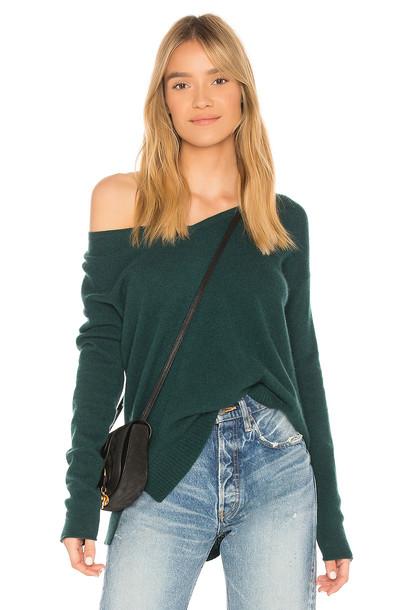 White + Warren sweater v neck green