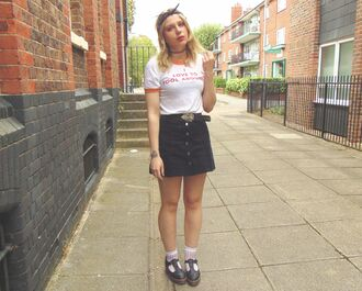 the velvet black grunge blogger belt graphic tee 90s style denim skirt button up skirt