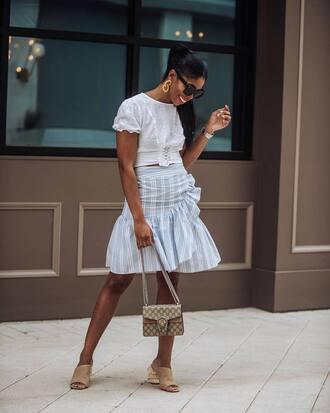 shoes sandals skirt white top sunglasses bag