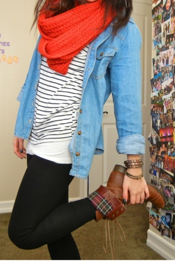 shoes brown boots combat cute jacket shirt denim button up denim button up blouse red scarf chambray shirt striped shirt brown leather boots stripped casual fall outfits winter outfits leggings