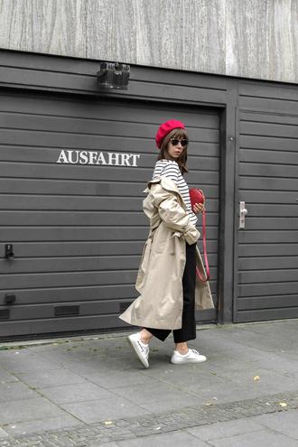 top beret tumblr stripes striped top coat trench coat pants black pants sneakers white sneakers