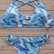 Stylish cross halter floral print women's bikini set