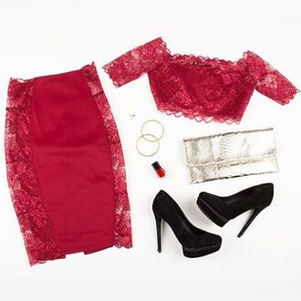top angl angl clothing shop angl red lace burgundy lace matching set 2 piece dress set pencil skirt lace skirt crop tops lace crop top