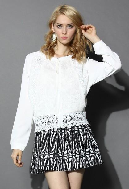 jacket chicwish lace crochet bomber jacket
