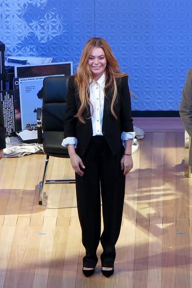 lindsay lohan pants suit
