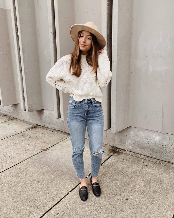 sweater knitted sweater white sweater jeans ripped jeans high waisted jeans loafers hat