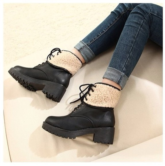 fur shoes boots boots, black, chunky , ankle, high, heeled , ankle boot, chelsea boot laces