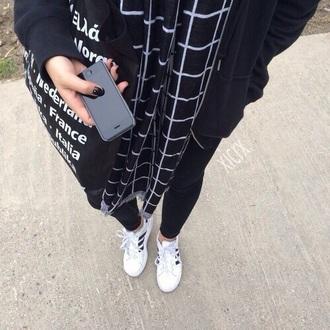 scarf grid grunge urban soft grunge black