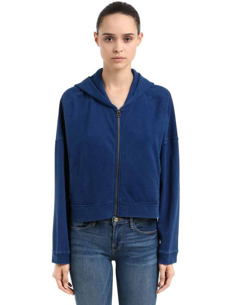 CHAMPION Oversize Hooded Cotton Crop Sweatshirt in blue