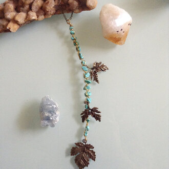 jewels indie alternative grunge leaves charm brass bronze necklace jewelry accessories crystal gems gemstone hippie boho boho chic style festival summer music festival summer outfits bohemian turquoise boho jewelry