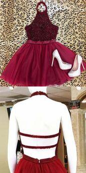dress,sweet sixteen dresses dresses,fuchsia,beaded,above-knee,haltered,a lines,hollow,sleeveless