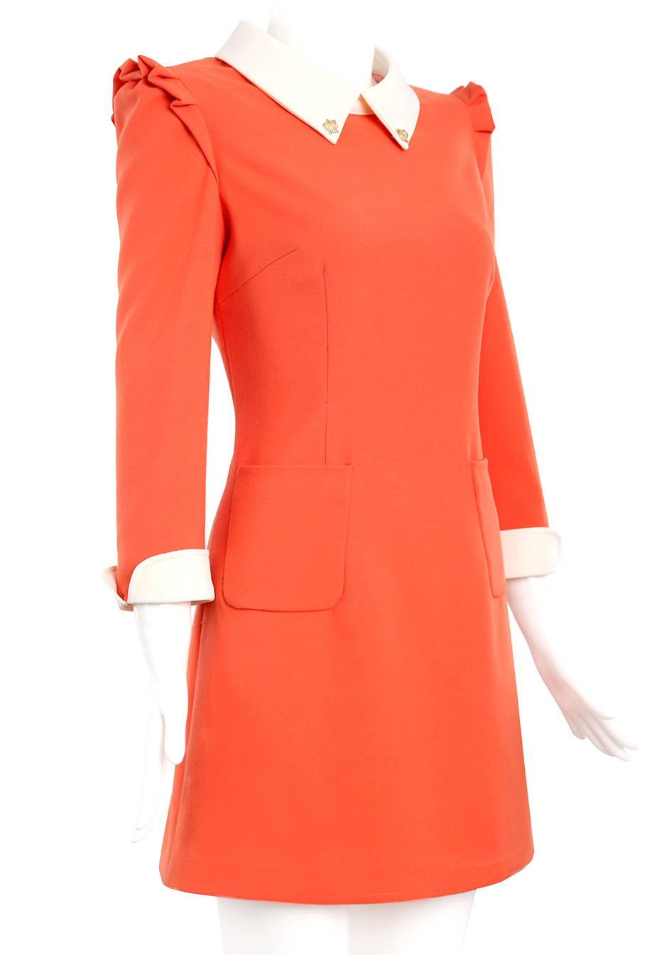 Orange Contrast Lapel Long Sleeve Slim Dress - Sheinside.com