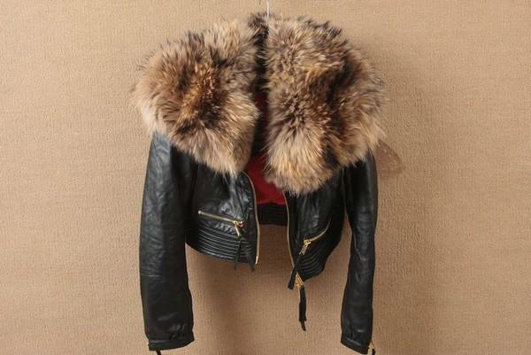 jacket fur leather jacket leather black dsquared2