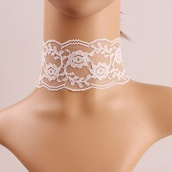 jewels,lace,white,necklace,choker necklace,fashion,girly,trendsgal.com