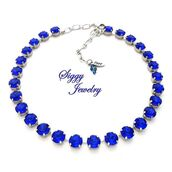 jewels,siggy jewelry,necklace,elegant,etsy,gift ideas,sparkle,wedding jewelry,blue,majestic,hand made,swarovski,sapphire,navy,statement necklace,shopping,trendy,bridesmaids gift,mothers day gift idea,style,fashionista