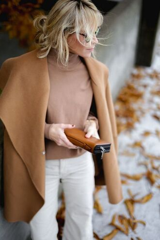 coat white and beige outfit white and beige beige coat beige top top pants white pants turtleneck winter look winter outfits tumblr